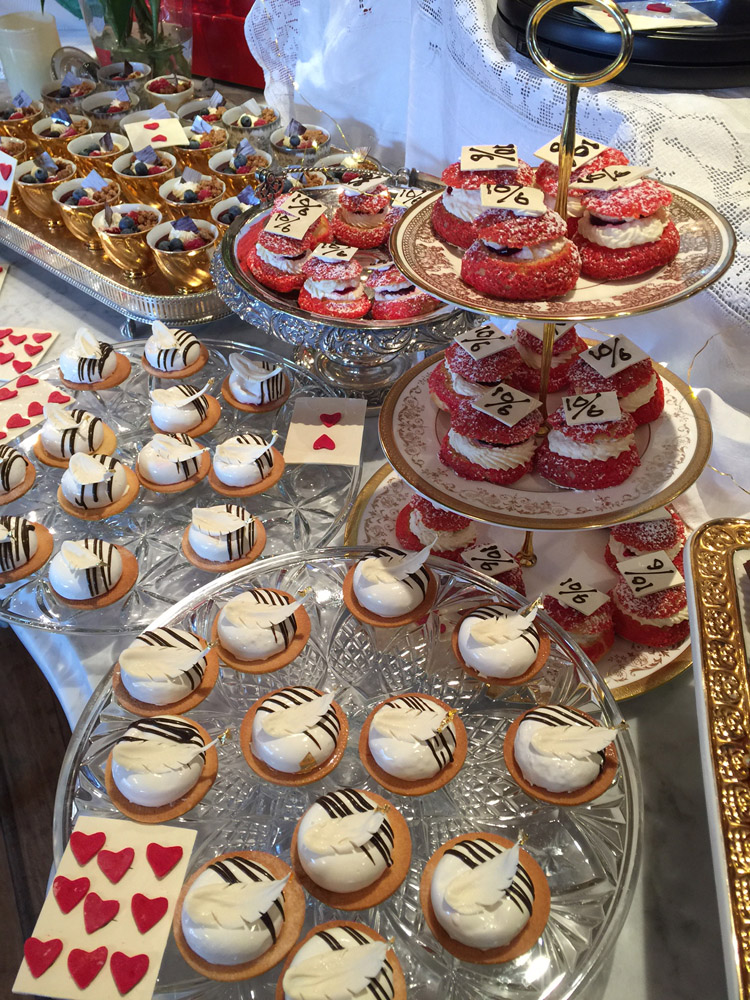 alice in wonderland themed dessert buffet